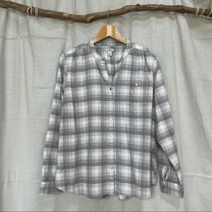 LL Bean Brushed Flanneled Cotton Button Up Top